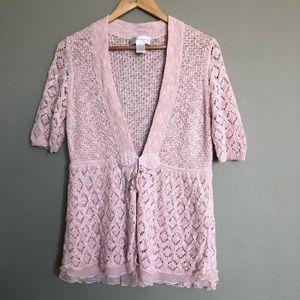 Soft Surroundings Pink Chateau Sweater Cardigan M